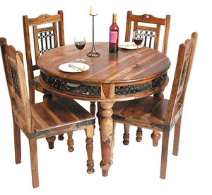Brand New Jali Indian Solid Sheesham Wood Round Dining Table And 4 Chairs Ebay