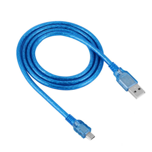 Blue Superspeed USB 2.0 Type A Male to Mini B 5 Pin Male Adapter Cable Cord Top