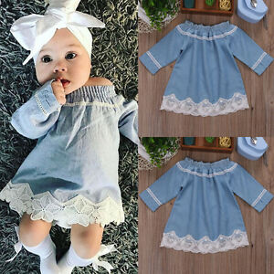 198a55a164 US Stock Newborn Kid Baby Girls Lace Off Shoulder Denim Dress Party ...
