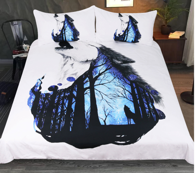 Bedding Set Howling Wolf Duvet Cover With PilFaiblecases Forest Bed Set 3pcs Art
