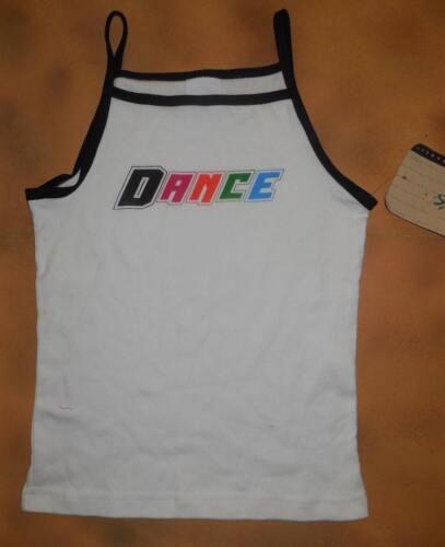 NWT Leo/'s White Camisole Top Black Trim Dance Girls Sizes 15-454