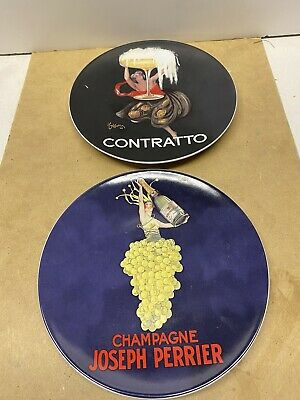 """Lot 2 Pottery Barn Bubbly Champagne Plate Cocktail Cheese Appetizer Snack 8.5/"""""""