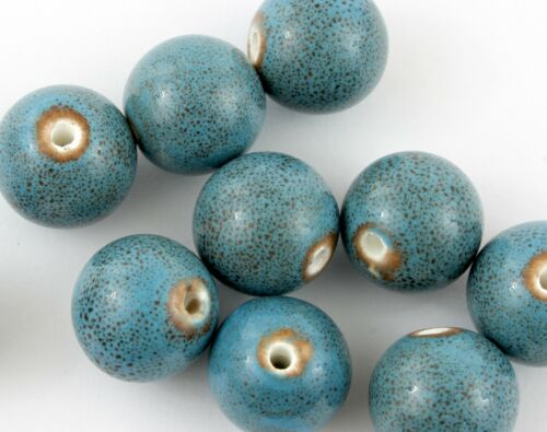 Large hand made Turquoise Blue Teal brown speckle Ceramic Glazed 22mm Beads