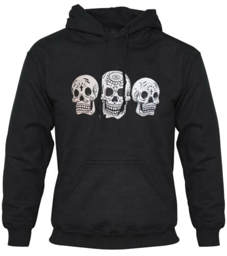 HOODIE UNISEX TATTOO ROCKABILLY CANDY SKULLS DAY OF THE DEAD
