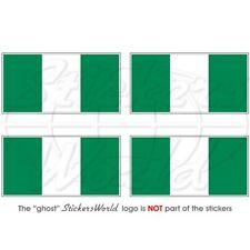 4 x Autocollant sticker voiture moto  drapeau nigeria nigerian