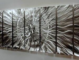 Extra Large Metal Wall Art abstract metal wall art extra large multiple panel silver eye of