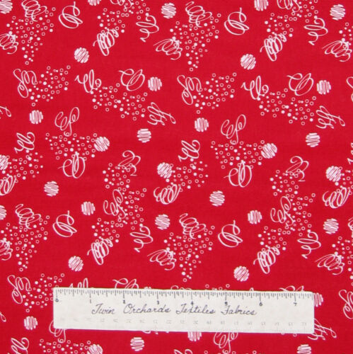 Cotton Sewing Quilting YARD Red /& White Circle Ring Ribbon Calico Fabric