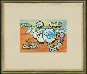 Edward-Morgan-1933-2009-Signed-amp-Framed-Gouache-Seagulls-on-the-Beach