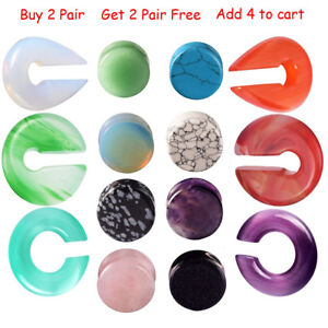 15-Styles-Organic-Stone-Ear-Tunnel-Plug-Double-Flared-Gauges-2g-5-8-034-Piercing