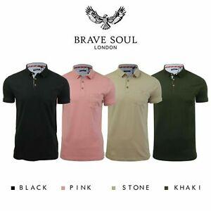 Brave-Soul-Hommes-Polo-T-Shirt-034-Julius-039-S-Coton-A-Col-Manches-Courtes-Haut-Decontracte