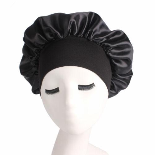 Silk Satin Night Sleep Cap Hair Bonnet Hat Head Cover Wide Band Adjust Elastic