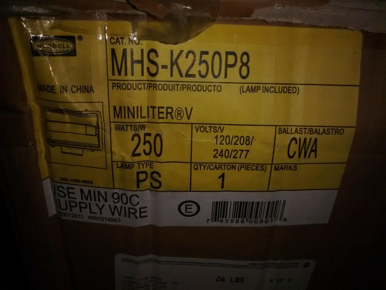 Hubbell MHS-K250P8 Outdoor Light Miniliter Flood Dark Dark Dark Bronze Metal Halide 250W 837e97
