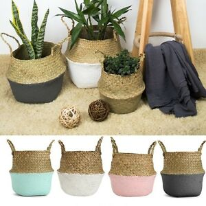 Seagrass-Belly-Basket-Storage-Plant-Pot-Foldable-Laundry-Nursery-Home-Room-Decor