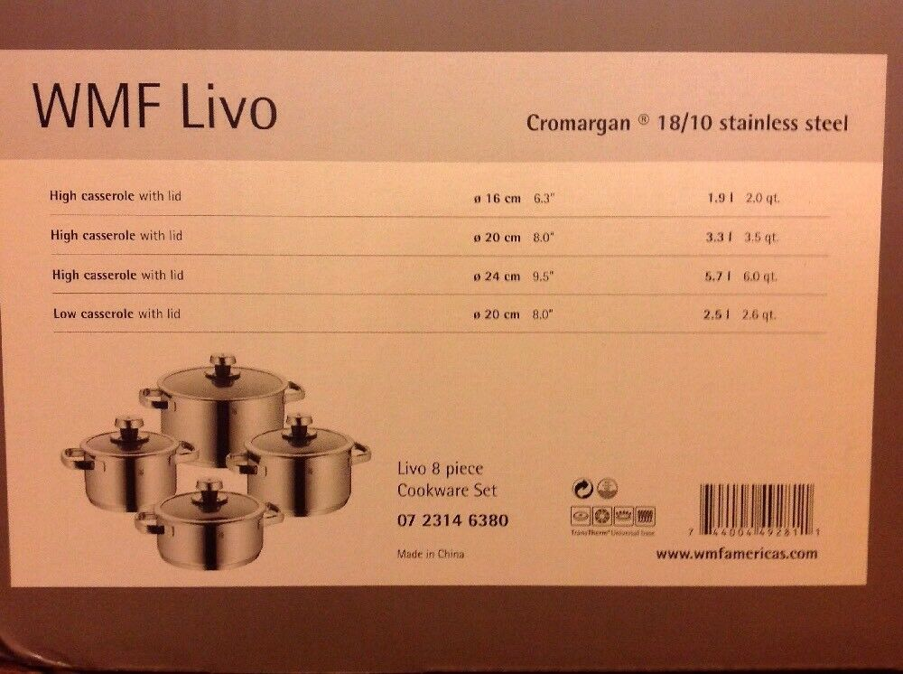 WMF Livo 8 Pièces inoxydable 18 10 Cookware Set