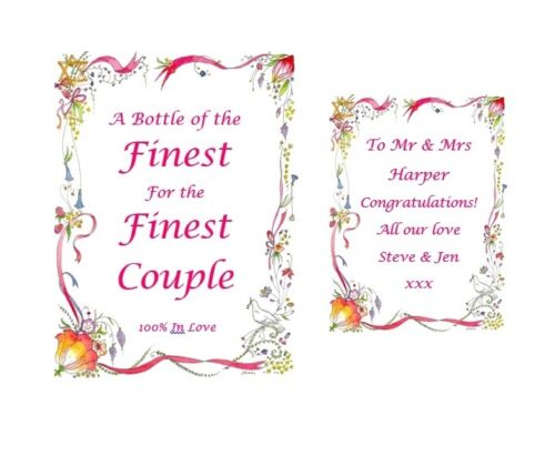 Wedding Gift Personalised Bottle Labels For Wine Champagne Vodka Engagement Gift