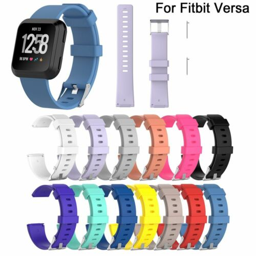 Silicone Wrist Band Strap Solid Color Belt For Fitbit Versa Wristband S//L