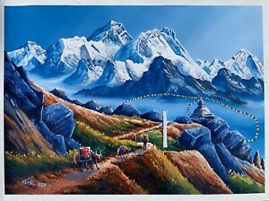 MOUNT-EVEREST-VIEW-FROM-GOKYO-LAKE-ORIGINAL-ACRYLIC-PAINTING-ON-CANVAS-22-034-x-30-034