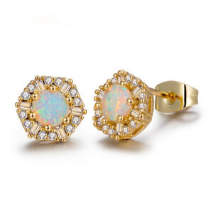 European-Flower-Style-Gold-Plated-925-Silver-white-Fire-Opal-Stud-Earrings