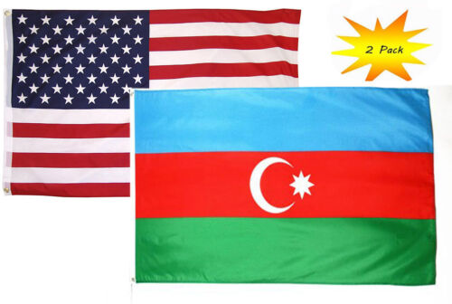 3x5 3'x5' Wholesale Set 2 Pack USA American /& Azerbaijan Country Flag Banner