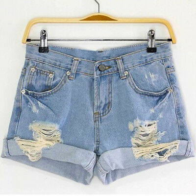 Light Blue Women's Girls' Vintage Retro Flange Hole High Waist Jeans Denim Short