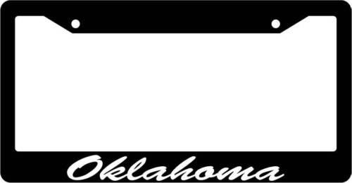 Black License Plate Frame CURSIVE Oklahoma Auto Accessory Novelty 2462