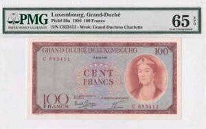 1956-Luxembourg-100-Francs-PMG65-EPQ-lt-P-50a-gt-GEM-UNC