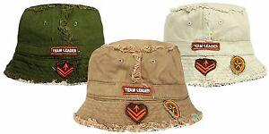Boys-Bush-Hat-Reversible-Frayed-Seam-Design-Team-Leader-Summer-Sun-Cotton-Cap