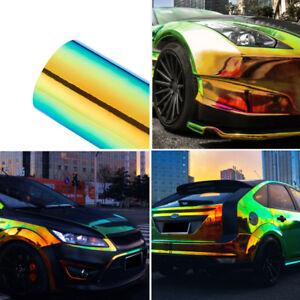 "53/""x29.5/"" Holographic Rainbow Neo Chrome Car Vinyl Wrap Bubble Free Sticker Film"