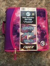 Case It Mighty Zip Tab 3 Inch Capacity Ring Zipper Binder D 156 Purple New