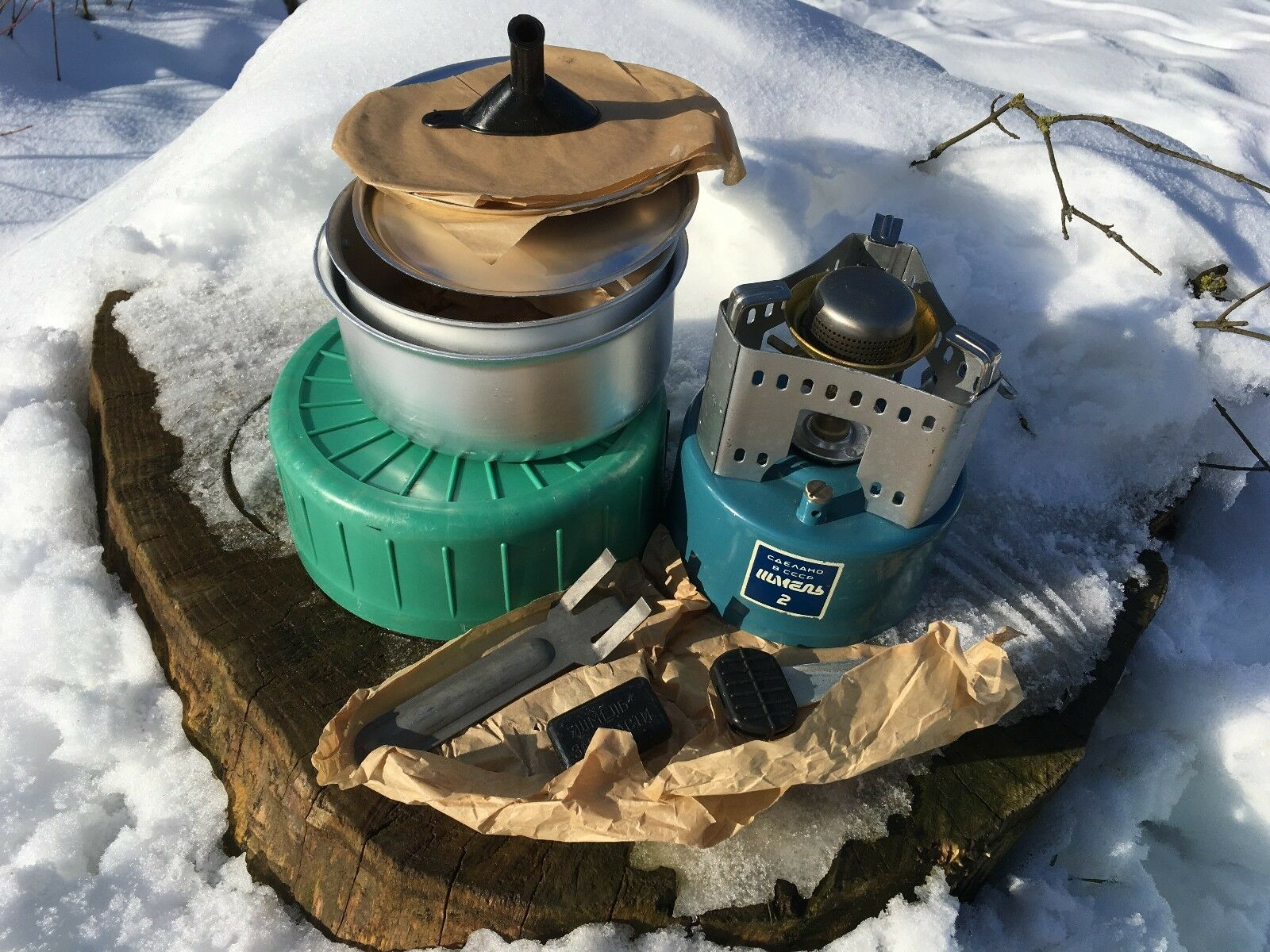 USSR Soviet Camping Stove Hunting Fishing Tourism Primus SHMEL 2 COOKWARE SET