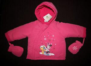 DISNEY-BABY-manteau-blouson-bebe-MINNIE-rose-avec-gants-taille-9-mois-neuf