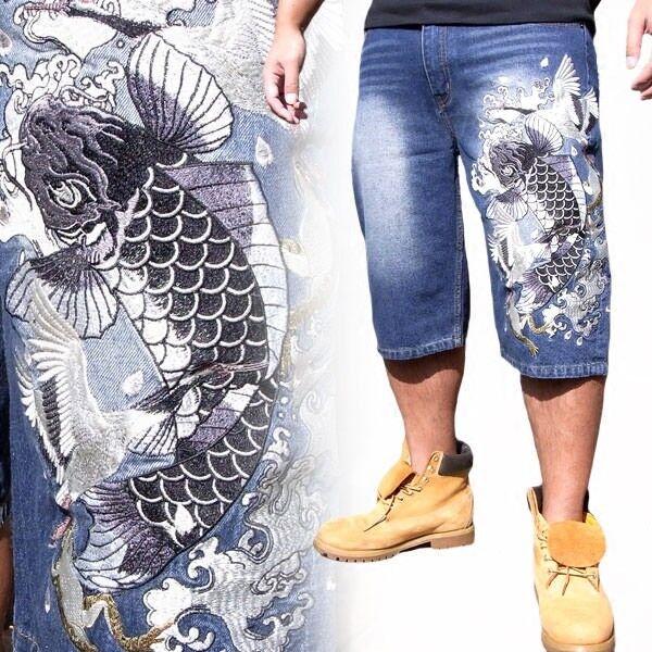 Mens Jeans Shorts Capri Denim Japanese Pattern Embroidery Limited Edition Carp