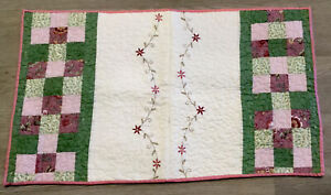 Patchwork Quilt Table Topper, Wall Quilt, Nine Patch Squares, Flower Embroidery