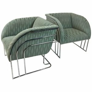 Details About Pair Of Chrome Lounge Chairs By Milo Baughman For Thayer  Coggin