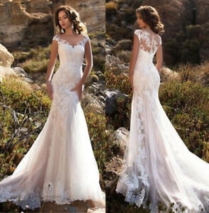 White ivory Lace Mermaid Wedding Dress