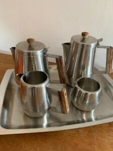 Vintage Mid Century Stainless Steel And Wood Tray Tea Set - Fabulous!!!