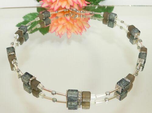 Halskette Kette Würfelkette Glas crash Ab Acryl grau klar Strass 189p