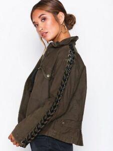 bcdab9cde8  168 Free People Faye Military Rocker Jacket Lace Up Sleeve Moss ...