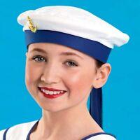 Blue & White Sailor Anchor Fancy Dress Dance Costume Hat