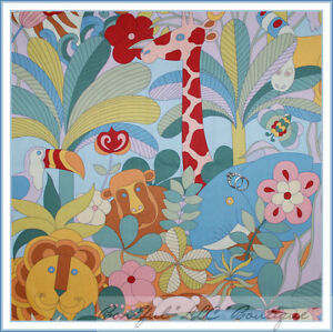 Boneful Fabric Fq Cotton Quilt Vtg Jungle Animal Baby Boy