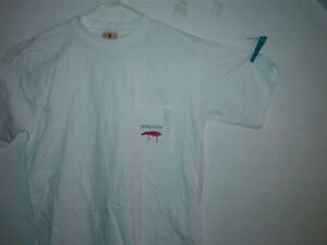 WOOLRICH t-shirt short sleeve white with red plug & pocket size MEDIUM brand new