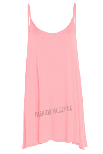 NEW WOMENS CAMISOLE CAMI FLARED SKATER STRAPPY SWING MINI DRESS TOP 8-22
