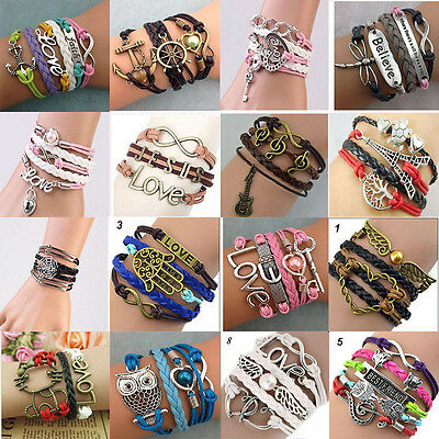 New 24PCs Assorted women's copper leather hand made Ethnic Tribes cuff Bracelets