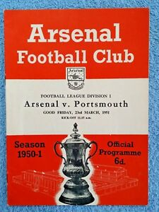 1951-ARSENAL-v-PORTSMOUTH-PROGRAMME-FIRST-DIVISION-50-51-a