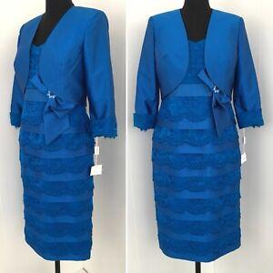Condici Uk 12 Bleu Mère De La Mariée Tenue Robe Costume Mariage Occasion Neuf-afficher Le Titre D'origine