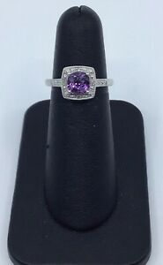 10k-White-Gold-Amethyst-and-03ctw-Diamond-Cocktail-Ring