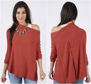 ac602b000e44ce FREE PEOPLE  LOVER  RIB OFF SHOULDER DRAPE THERMAL TUNIC TOP Sz M ...