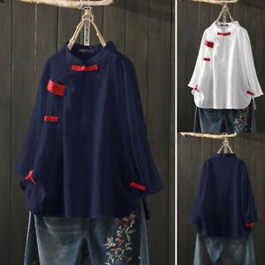ZANZEA-Women-Chinese-Style-Tops-Casual-Long-Sleeve-Loose-Tee-Shirt-Cotton-Blouse