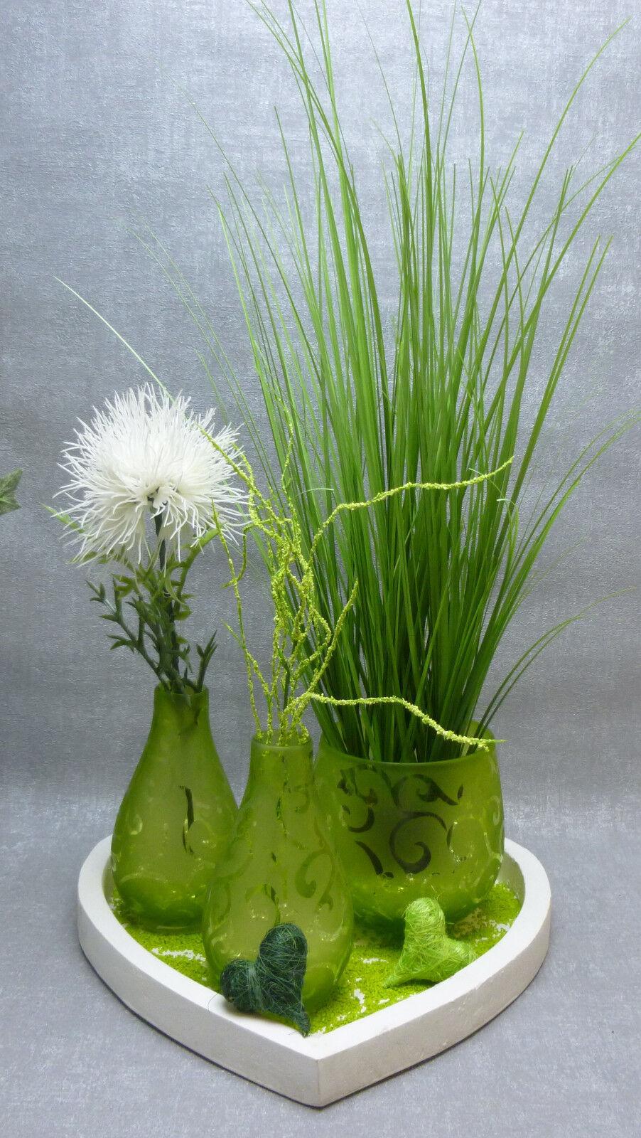 edel Komplettdeko Weiß Grün Herzen Grünpflanzen Vasen 3 ...
