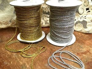 VINTAGE-METALLIC-GOLD-or-SILVER-CHAIN-Trim-1yd-DOLL-Miniatures-1-8-034-FRANCE